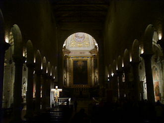 Pistoia Cathedral - The interior during a night celebration