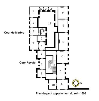 Petit appartement du roi - Image: Plan du petit appartement du roi 1693