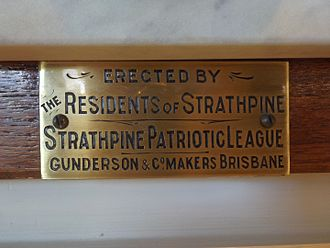 Strathpine Honour Board - Plaque, 2016