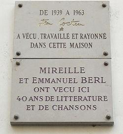 Plaques jean cocteau, emmanuel berl et mireille, 36 rue de montpensier, paris 1