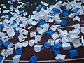 Plastic chairs on the stadion broken by soccer hooligans. Bryansk, Russia, 2008.jpg
