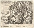 Plate 23- a satyr sitting against a tree to right and holding a flute in his right hand, a child playing with a goat to left, from 'Diversi capricci' MET DP833170.jpg