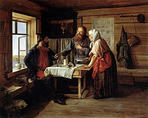 "Ivan Krylov - ""Demyan's Fish Soup"", by Andrei Popov, 1857. The Russian Museum, St Petersburg"