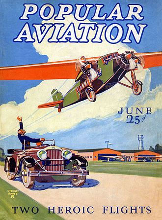 Ziff Davis - An early (June 1928) issue of Popular Aviation; the first magazine published by Ziff Davis. Artwork by Stewart Rouse; Ziff-Davis titles featured painted covers throughout the following decade.