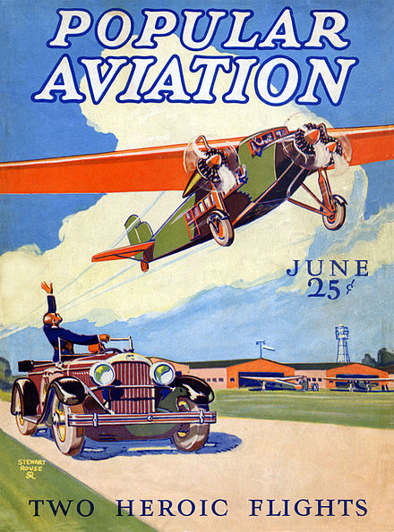 An early (June 1928) issue of Popular Aviation; the first magazine published by Ziff Davis. Artwork by Stewart Rouse. Ziff-Davis titles featured painted covers throughout the following decade.