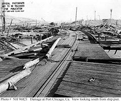 Port Chicago po katastrofie. Widok z pirsu ku południowi