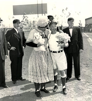 Portland Beavers - The Portland Beavers and Hollywood Stars managers before a game performing a comedy routine (Gilmore Field in the 1940s)