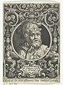 Portret van Hector van Troje in medaillon binnen rechthoekige omlijsting met ornamenten Hector troianus (titel op object) De negen besten (serietitel), RP-P-1963-631.jpg