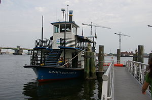 Hampton Roads Transit - One of three paddle wheel ferries docked at Waterside Festival Marketplace