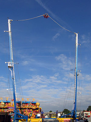 Reverse bungee - A reverse bungee launch with the passenger car nearing the top of the launch.