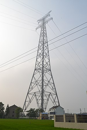 Yangtze River power line crossings - View of pylon in Jiangyin.
