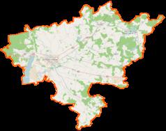 """Mapa konturowa powiatu stargardzkiego, po prawej znajduje się punkt z opisem """"Wapnica"""""""