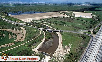 Prado Dam - Prado Dam above the Chino Valley Freeway (SR 71)/Riverside Freeway (SR 91) interchange