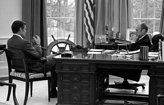 President Gerald Ford meets with CIA Director-designate George H. W. Bush, December 17, 1975 President Ford meets with CIA Director-designate George Bush - NARA - 7141445.jpg