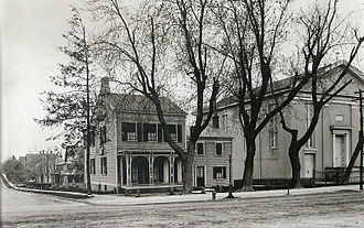 Princeton United Methodist Church - The original church building with Dr. Bartine's house on the corner