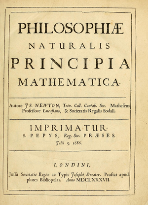 Philosophiæ Naturalis Principia Mathematica - Title page of Principia, first edition (1686/1687)