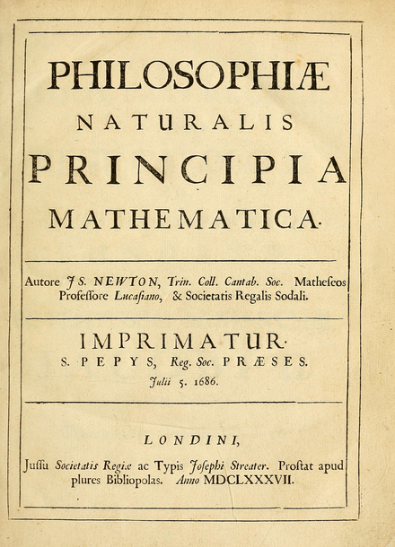 The school's Ancient Library contains a first edition of Newton's Prinicipia, acquired on publication Prinicipia-title.png