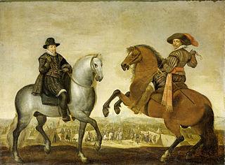 Princes Maurits and Frederik Hendrik on horseback