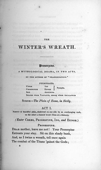 Proserpine (play) - Proserpine as it was first published in the Winter's Wreath in 1832.