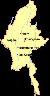 Le principali città-stato Pyu