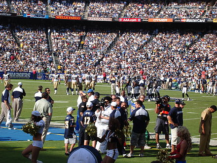 Qualcomm Stadium hosts a Chargers game against the St. Louis Rams. QualcommChargersRams.JPG