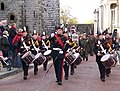 Quick March along Pen Deitsh - Drum Major and Corps of Drums heading the Remembrance Day Parade - geograph.org.uk - 1573676.jpg