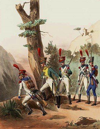 Irish Legion - Foreign regiments in the French Army 1810. Painting of 1830 by Alfred de Marbot (1812-1865). In the center, wearing green uniforms, officer and grenadier of the Irish Legion.