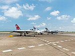 ROCAF F-CK-1A 1427, Mirage 2000-5EI 2017 and F-16A 6609 Parked at Gangshan AFB Apron after Demonstration Flight 20170812a.jpg