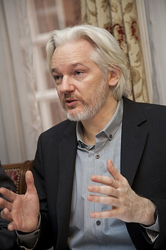 Julian Assange - Assange during a press conference in the Ecuadorian Embassy, London (October 2014)
