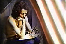 Image of Ra McGuire songwriting during 1975 US tour.