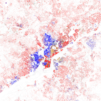 Map of racial distribution in Philadelphia, 2010 Census. Each dot is 25 people: White, Black, Asian, Hispanic, or Other. Race and ethnicity 2010- Philadelphia (5559907949).png