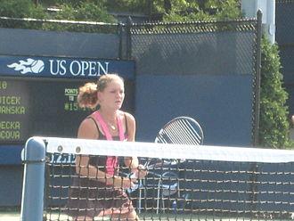 2008 Wimbledon Championships - Agnieszka Radwańska reached her first Wimbledon quarter-final by upsetting Svetlana Kuznetsova in the fourth round.
