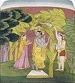 Ragamala, Krishna flutes beneath a banana tree (6125129456).jpg