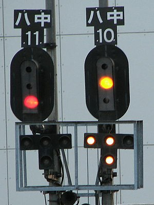Railway signal - The additional lights on Japanese signal 10 show that the points are set for the left route at the next junction.