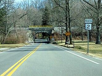 West Virginia Route 2 - 1909 stone masonry rail bridge crossing WV-2 near Point Pleasant