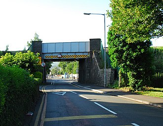 Neath - Railway Bridge over Dwr-y-Felin Road next to Dwr-y-Felin Comprehensive School.