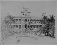 Raising of American flag at Iolani Palace with US Marines in the foreground (PPWD-8-3-008).jpg