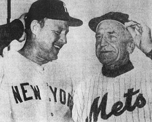 Ralph Houk - Houk (left) and his predecessor, Casey Stengel, before an exhibition game in 1962 between the Yankees and Mets.