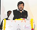 """Ramdas Athawale addressing at the launch of the """"First Indian Sign Language (ISL) Dictionary of 3000 words"""", developed by the Indian Sign Language Research & Training Centre under Mo Social Justice & Empowerment, in New Delhi.jpg"""