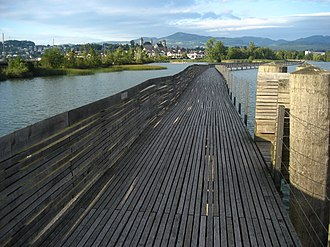Timber bridge - Holzbrücke Rapperswil-Hurden, possibly one of the oldest timber bridges in the world.