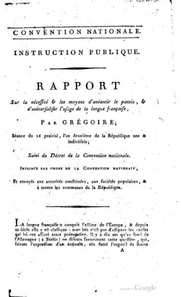 File:Rapport sur la nécessité et les moyens d'anéantir les patois et d'universaliser l'usage de la langue française.djvu