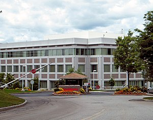 Raytheon - Entrance to Raytheon's secure headquarters complex in Waltham, Massachusetts
