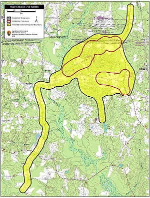First Battle of Ream's Station - Map of Ream's Station Battlefield core and study areas by the American Battlefield Protection Program.