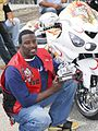 Red vest custom Kawasaki trophy winner at Black Bike Week Festival 2008.jpg