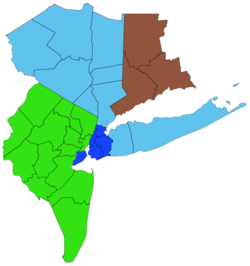 A color coordinated map of the 31 counties from New York, New Jersey, and Connecticut that are under the purview of the Regional Plan Association