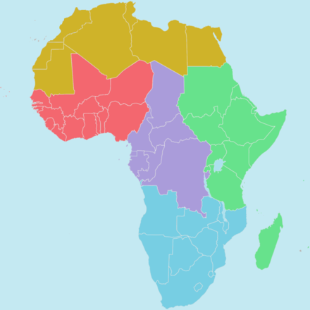 Regions of the African Union: Northern Region   (Sahara), Southern Region   (Kalahari), Eastern Region  (Nile), Western Regions A and B  (Niger and Volta Niger), Central Region (Congo)