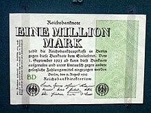 Banconota da un milione di marchi emessa dalla Repubblica di Weimar.