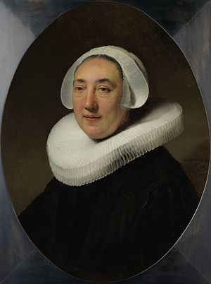 Oval Portrait of a Woman (Rembrandt, New York) - Image: Rembrandt, Portret van Haesje v.Cleyburg 1634