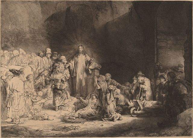 https://upload.wikimedia.org/wikipedia/commons/thumb/1/17/Rembrandt_van_Rijn_-_Christ_Preaching_%28The_Hundred_Guilder_Print%29_-_Google_Art_Project.jpg/640px-Rembrandt_van_Rijn_-_Christ_Preaching_%28The_Hundred_Guilder_Print%29_-_Google_Art_Project.jpg