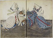 Watercolour, probably by Barthélemy d'Eyck, from King René's Tournament Book